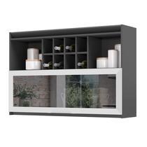 Armário de Cozinha com nicho Thela Hibisco 120 cm Grafite/Branco -