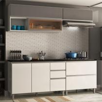 Armário de Cozinha Completa Aéreo Suspenso com Balcão Evidence Branco / Grafite - Poliman Móveis