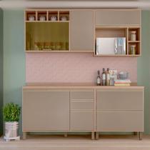 Armário de Cozinha Completa Yara 4 peças 5 Portas Grafite - Luciane