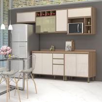 Armário de Cozinha Completa Yara 5 Peças 8 Portas Off White Perolado - Luciane
