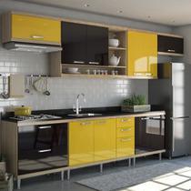 Armário de Cozinha Completo 7 peças sem tampo de pia 3,30m 5800 Linha Sicília Multimóveis -