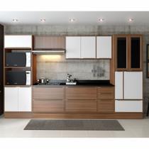 Armário de Cozinha Completo com Rodapé 11pc 3,30m Calábria 5450R Multimóveis -