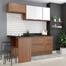 Armário de Cozinha Completo com Rodapé 6pc 1,90m Calábria 5460R Multimóveis -