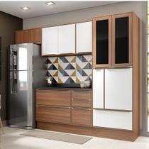 Armário de Cozinha Completo com Rodapé 7pc 2,60m Calábria 5453R Multimóveis -