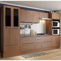 Armário de Cozinha Completo com Rodapé sem Tampo 10pc 3,30m Calábria 5451R Multimóveis -