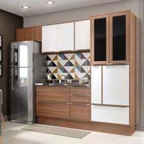 Armário de Cozinha Completo com Rodapé sem Tampo 6pc 2,60m Calábria 5453R Multimóveis -
