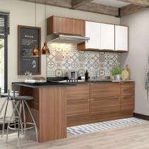 Armário de Cozinha Completo com Rodapé sem Tampo 7pc 2,58m Calábria 5455R Multimóveis -