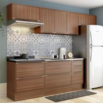 Armário de Cozinha Completo com Rodapé sem Tampo 7pc 2,60m Calábria 5456R Multimóveis -