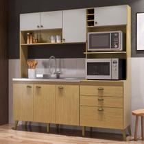 Armário de Cozinha Completo Donna Casamia com 8 Portas 2 Gavetas Espaços Forno e Micro-ondas Louro Freijo/Off White -