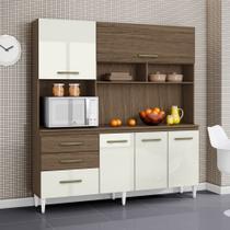 Armario de Cozinha Completo Lory Ambar/Off White - Aramóveis