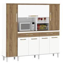 Armário De Cozinha Completo Marisa 1,70m Branco Brilho com Canelato - Trinobél Móveis - Trinobel Móveis