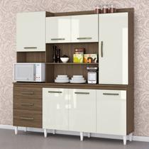 Armário de Cozinha Completo Mirela Ambar/Off White - Aramóveis