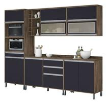 Armário de Cozinha Completo Turquesa com Porta de Vidro Castanho com Grafite - Vitamov -