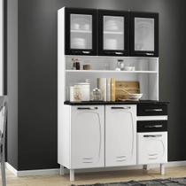 Armário de Cozinha de Aço Kit Triplo Telasul Pérola Branco/Preto -