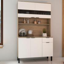 Armário de Cozinha Kit Thela Anis 120 cm C/ Vidro Aveiro/Branco -