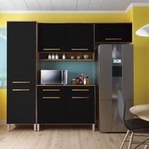 Armario de Cozinha Modulada Compacta 3 Peças - Castanho/Onix - 4D