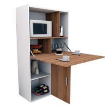 Armário de Cozinha Versátil com 02 Portas/Mesa Branco e Castanho Appunto Móveis -