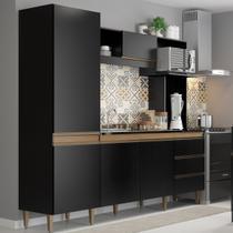 Armário de Cozinha Vitória 05 Portas 03 Gv 215x203x52 Cm Preto TX MDP 15mm 0318 - MENU - Menu Móveis