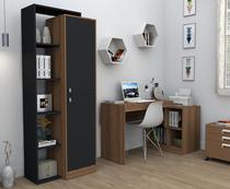 Armário estante com 5 nichos moove preto e castanho appunto -