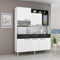 Armário Kit de Cozinha 6 Portas 1 de Vidro 3 Gavetas Regina Itatiaia Branco / Preto  Cestaplus -