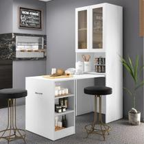 Armário multifuncional/multiuso com 02 portas de vidro e mesa retrátil com organizador Multimóveis -