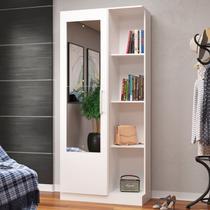 Armário Multiuso 1 Porta 3 Prateleiras 1mu1004 Com Espelho Branco - Rodial