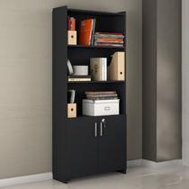 Armário Multiuso 2 Portas Para Escritório Office Notável Móveis Black -