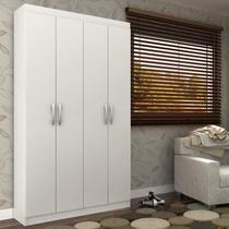 Armário Multiuso 4 Portas 8 Prateleiras Milão Siena Móveis Branco -