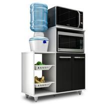 Armário Multiuso com Fruteira e Nicho Micro-ondas 2 Portas Munique Branco/Preto - Mpozenato - Mpozenato - Lm