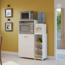 Armário Multiuso para Forno e Microondas com Fruteira Siena Móveis Branco -