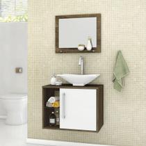 Armário para Banheiro com 1 Porta Baden Madeira / Branco - Bechara -
