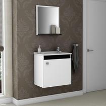 Armário para Banheiro com 1 Porta Siena Branco / Preto - Bechara -