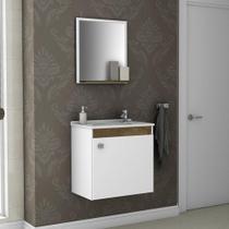 Armário para Banheiro com 1 Porta Siena Madeira / Branco - Bechara -
