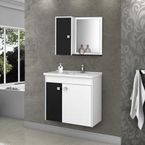 Armário para Banheiro com 3 Portas 5 Prateleiras Munique Branco / Preto - Bechara -