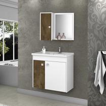 Armário para Banheiro com 3 Portas Munique Madeira / Branco - Bechara -