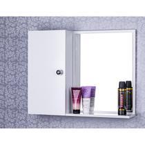 Armário Para Banheiro Com Espelho Cor Branco - Mercado Das Prateleiras