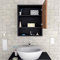 Armário para Banheiro Espelho Slim Preto e Castanho Appunto -