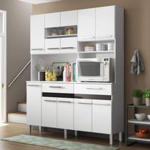 Armário para Cozinha 10 Portas 2 Gavetas Compacta Decibal Branco/Preto -