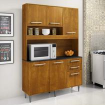 Armário para Cozinha 5 Portas 3 Gavetas Cristal CHF Móveis Marrom -