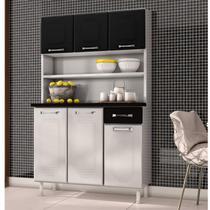 Armário para Cozinha 5 Portas Novitá Smart Gaveta Telasul Branco/Preto -