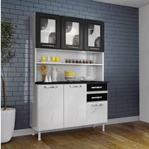 Armário para Cozinha 6 Portas 2 Gavetas Safira Telasul Branco/Preto -