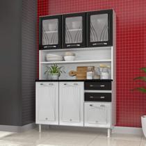 Armário para Cozinha 6 Portas 2 Gavetas Star Telasul Branco/Preto -