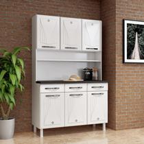 Armário para Cozinha 6 Portas 3 Gavetas com Tampo Star New Telasul Branco -