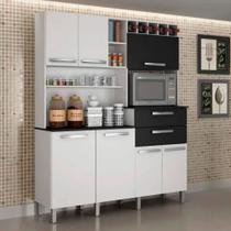 Armário para Cozinha 7 Portas Monte Rey Valdemóveis Branco/Preto -