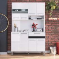 Armário para Cozinha 8 Portas 1 Gaveta Compacta Decibal Alumínio Polido/Branco/Preto -