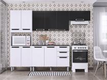Armário Para Cozinha Itatiaia Pitanga Madeira, 11 Portas 2 Gavetas, com Balcão - Branco e Preto -
