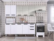 Armário Para Cozinha Itatiaia Pitanga Madeira, 11 Portas 2 Gavetas, com Balcão - Branco e Saara -