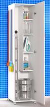 Armário Para Lavanderia 1 Porta Alto Multiuso Branco Amplo - Clickforte