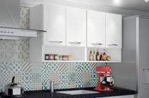 Armário Parede Suspenso Branco Multiuso Cozinha 4 Portas - Magazine Rm
