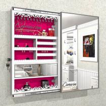 Armário Porta Joia (1,00 - BRANCO), COM ILUMINAÇÃO LED, suporte para Colar e  Brinco com Porta De Espelho - Camarim Móveis